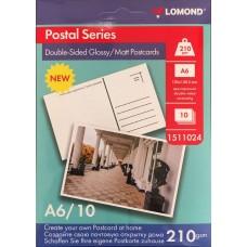 Фотобумага Lomond Открытка 10х15см 210 г/м2 двусторонняя гл/мат фотобумага, 10л (1511024)