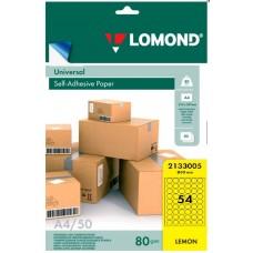 Бумага Lomond желтая адр.накл UNIV,54-дел,D30mm,50л,А4 (2133005)