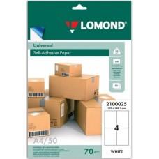 Бумага Lomond адр.накл UNIV,04-дел,105х148,5мм,50л,А4  (2100025)