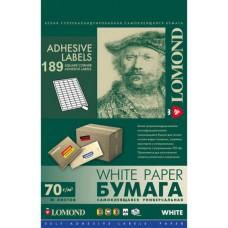 Бумага Lomond самоклеящаяся A4, 189 шт. (25.4 х 10 мм), 70 г/м2, 50л (2100235)