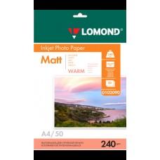 Фотобумага Lomond Матовая A4 240 г/кв.м. 50 листов (0102090)
