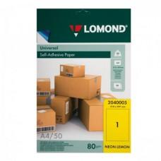 Lomond Самоклеющаяся А4 80 г/кв.м. 50 л, цвет желтый неон (2040005)
