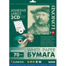 Фотобумага Lomond cамоклеящаяся универсальная для этикеток, A4, 3 шт. (D114 / D41мм), 70 г/м2, 25 л (2101023)