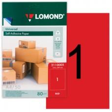 Lomond Самоклеющаяся А4 70 г/кв.м. 50 л, цвет красный (2110005)